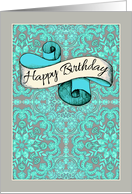 Happy Birthday to my beautiful sister - mint & grey decorative pattern card