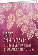 Happy Anniversary to our Daughter & Son-in-law, pink watercolor card