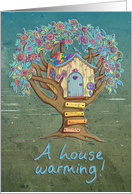 House Warming Invitation - A pretty little treehouse card