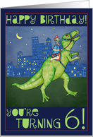 Birthday Card For Six Year Old A Drawing Of Boy Riding Dinosaur