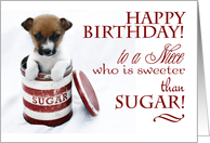 Happy Birthday to a Niece, sweeter than sugar, with cute puppy in tin. card