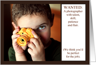 Be our photographer, wedding, child holding toy camera. card