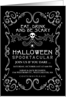 Black & White Eat Drink & Be Scary Custom Halloween Skull Invitation card