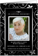 Thank You, Black & White Floral In Loving Memory Custom Photo Card