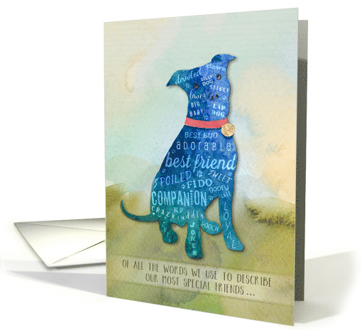 Dog Sympathy Watercolor Pitbull - Of All the Words card (1432384)