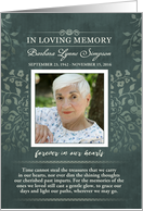 Thank You Teal Floral In Loving Memory Custom Photo Card
