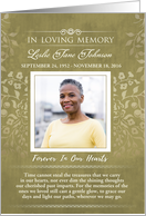 Thank You Gold Floral In Loving Memory Custom Photo Card