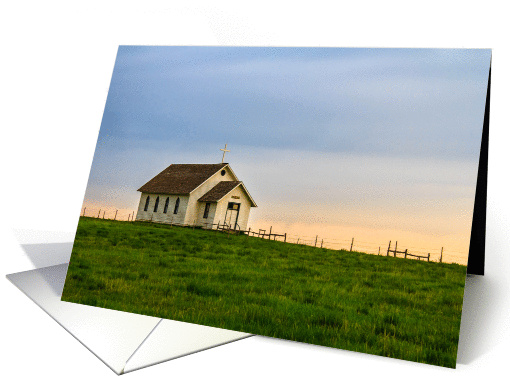 Little Country Church at Sunset - Blank All-Occasion card (941109)