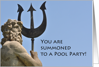 Pool Swimming Party Poseidon Statue card