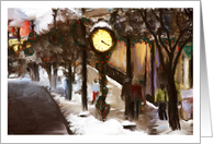 Main Street Clock And Window Shoppers It's Christmas Time Again Merry Christmas card