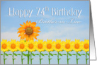 Brother-in-Law, Happy 74th Birthday, Sunflowers card