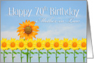 Mother-in-law, 70th Birthday, Sunflowers card