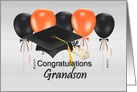 Graduation Congratulations for Grandson with Balloons and Grad Hat card
