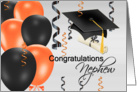 Congratulations Nephew, grad hat, balloons, streamers, degree card