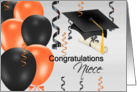 Congratulations Niece, grad hat, balloons, streamers, degree card