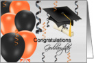 Congratulations Goddaughter, grad hat, balloons, streamers, degree card