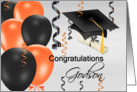 Congratulations Godson, grad hat, balloons, streamers, degree card