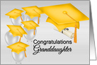 For Granddaughter Graduation Congratulations, Yellow Silver Effect Colors card