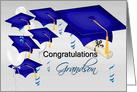 Grandson Graduation Congratulations With Graduation Hats and Balloons card