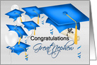 Great Nephew Graduation Congratulations, Blue and White card