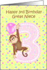 3rd Birthday Great Niece, Monkey card