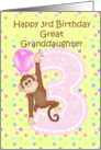 3rd Birthday Great Granddaughter, Monkey card