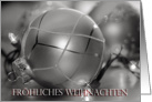 German Merry Christmas Ornaments, silver, lights card