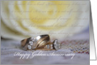 Happy Golden Anniversary, gold wedding rings, verse, rose card