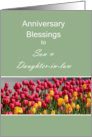 Anniversary Blessings to Son & Daughter-In-Law, Tulips card