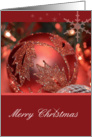 Merry Christmas Ornament, red ornament with snowflakes card