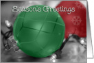 Seasons Greetings Green/Red Ornaments, ornaments and lights card