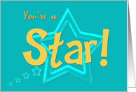 You're a Star!, blue-green background card