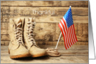 Thankful For Your Service, Flag and Boots card