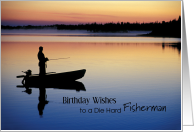 Fisherman Birthday Wishes, Sunset Silhouette card