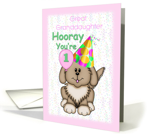 Great Granddaughter's 1st Birthday, puppy card (1258380)