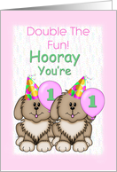 Twins 1st Birthday, Puppies card
