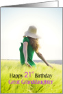 Happy 21st Birthday Great Granddaughter, Girl in Field card