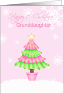 Happy 1st Christmas Granddaughter, Tree, snowflakes card