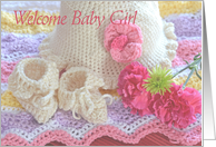 Crocheted Welcome Baby Girl card