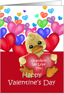 Grandson Ducky Valentine, Duck with hearts card