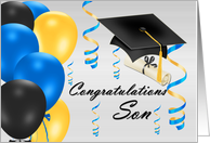 Congratulations Son Bachelor's Degree, grad hat, balloons, degree card