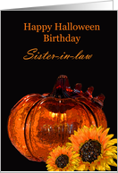 Happy Halloween Birthday Sister-in-law, pumpkin, sunflowers card