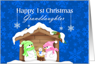 Happy 1st Christmas Granddaughter, Snow family nativity card