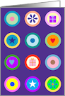 Bright Circle Icons on Purple Grid Birthday card