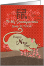 Chinese New Year Year of the Rat to Grandparents with Cherry Blossoms card
