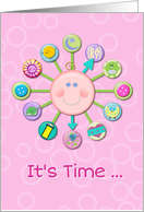 New Baby Girl Congratulations Welcome Cute Clock It's Time card