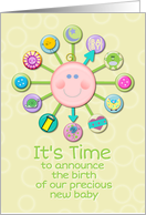 New Baby Birth Announcement Cute Baby Clock It's Time card