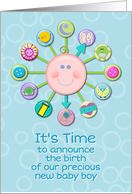 New Baby Boy Birth Announcement Blue Cute Baby Clock It's Time card
