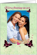 Lesbian Engagement Announcement Butterflys Floating on Air Photo Card