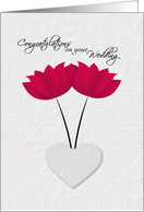 Lesbian Wedding Congratulations Red Flowers and Heart card